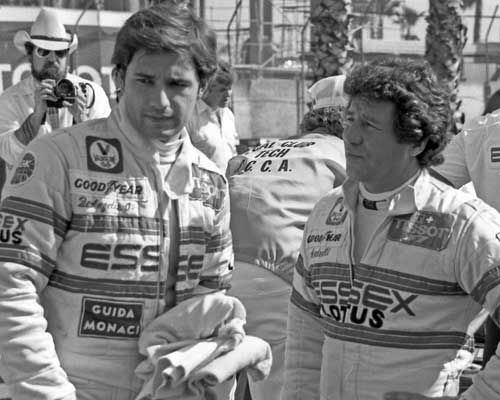 team lotus drivers elio de angelis left mario Andretti right