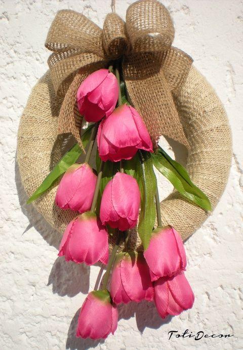 Egy csokor tulipán , ajtódísz, koszorú (TotiDecor) - Meska.hu