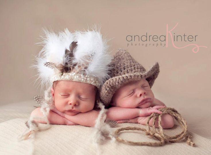Newborn Indian Headdress-  Baby Hats,  Newborn Photography Props- Twin props- Twin Sets. $30.00, via Etsy.