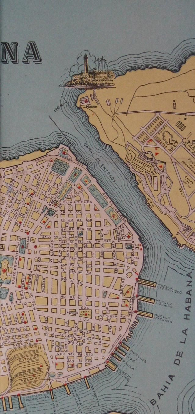 detail of an old map of Havana