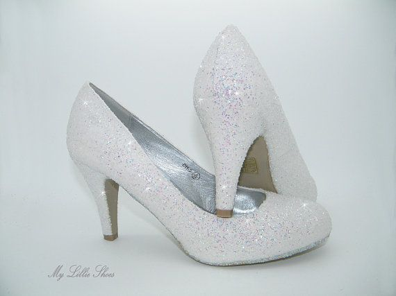 Womens Glitter Heels Colours White Pearl Heel Height 3 Inch Womens Sizes Uk 3 8 All Of Our Shoes Are Hand Cust Bride Shoes Womens Wedding Shoes Wedding Shoes