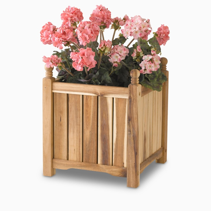 Solid Wood Planter Storage Box   PlowHearth   Unfinished Wood Planter Boxes