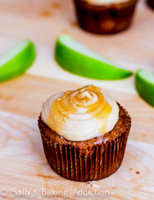 Apple Spice Cupcakes with Salted Caramel Frosting by sallysbakingaddiction.com
