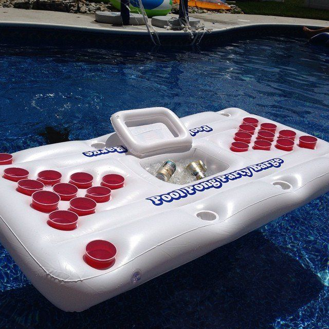 Features racks for 10 cups on each end. Has a built in cooler in the center. Comes with six pong balls and two raft patch kits. Measures 6 x 3 x 4 when inflated. Please allow 1-2 weeks for delivery.
