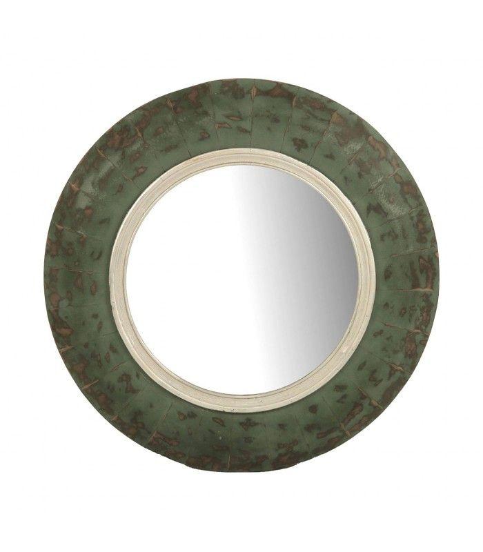 Espelho circular madeira verde.