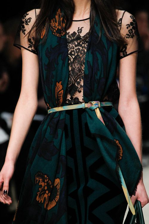 Fall 2014, Burberry Prorsum - love the mix of prints and cheeky see through lace showing through really lovely, gorgeous colours