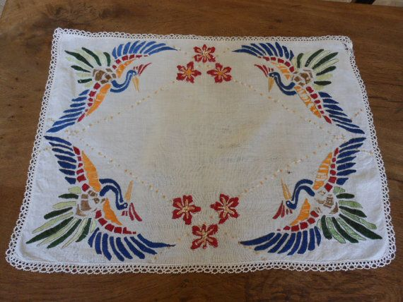 French Vintage Small Tablecloth Hand Embroidered In Bayeux, Normandy Via  Etsy