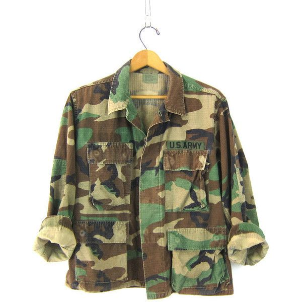US Army CAMO Shirt Jacket Vintage Patched United States Military Coat... ($34) ❤ liked on Polyvore featuring shirt jacket