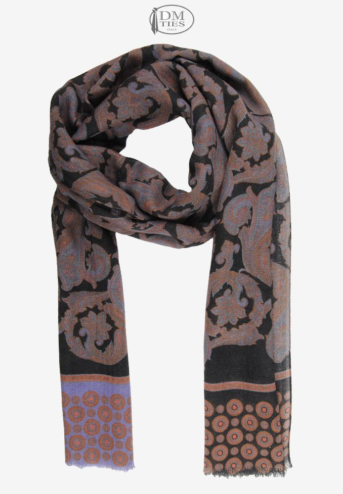 0SCZZ14c - Sciarpa lana nero arancione - Sciarpe UOMO - Sciarpe Uomo/Donna