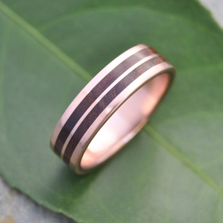 Rose Gold Lados Linea Nacascolo Wood Ring - ecofriendly wood wedding band, 14k recycled rose gold and wood wedding ring, mens wood ring by naturalezanica on Etsy
