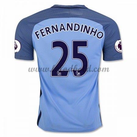 Billige Fodboldtrøjer Manchester City 2016-17 Fernandinho 25 Kortærmet Hjemmebanetrøje