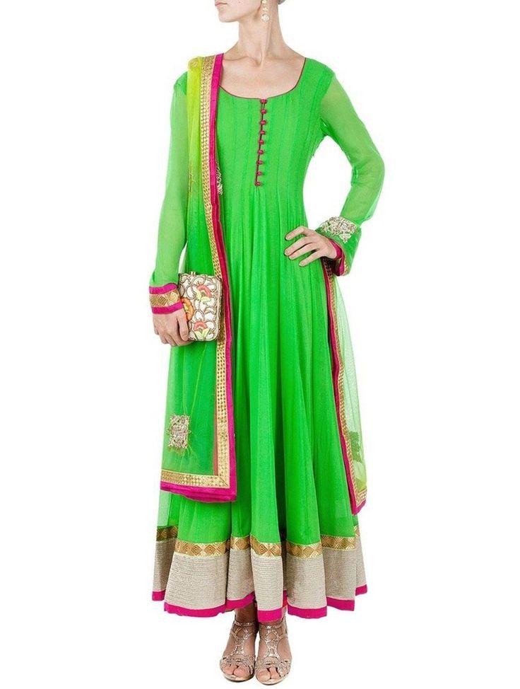 Bewitching Green Bollywood Replica Salwar Kameez. #BollywoodReplicaSuit #BollywoodDesignerSuit #BollywoodAnarkaliSuit #AnarkaliSuits