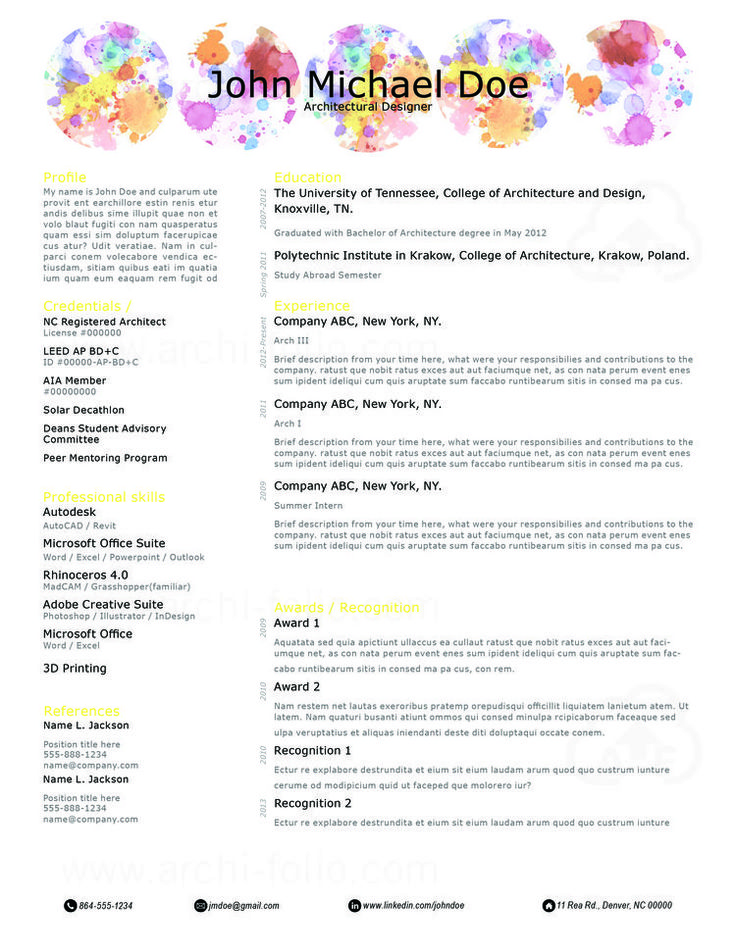 Best Resumes Architecture Interior Design Graphic Design