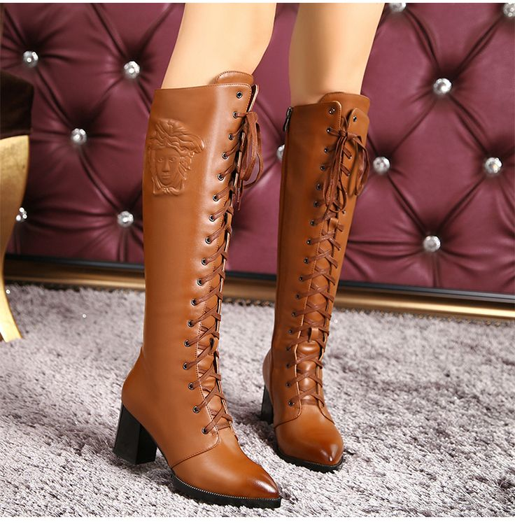 Leather Lace-up Chunky Heel Round Toe Knee-high Martin Boots