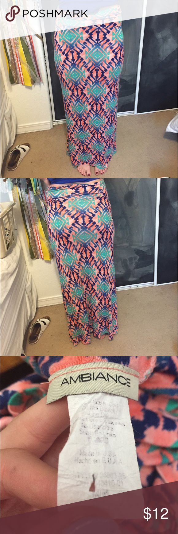 aztec maxi skirt aztec maxi skirt. SO soft and wearable. comfy and can be dressed up or down. coral, navy and kelly green Ambiance Apparel Skirts Maxi