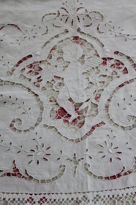 antique cutwork bedspread, cherub