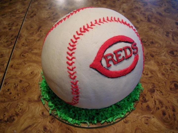 Cincinnati Reds Baseball cake! All buttercream!  All edible!  http://www.facebook.com/angelas.cakes2011