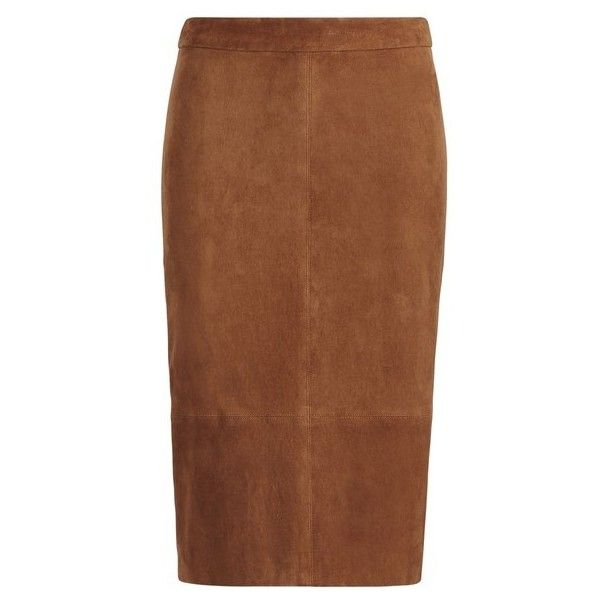 Polo Ralph Lauren Suede Pencil Skirt (750,625 KRW) ❤ liked on Polyvore featuring skirts, brown, midi, suede midi skirt, midi skirts, pencil skirts, calf length pencil skirts and brown midi skirt