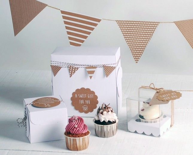 Kraft Paper Bunting | 18 Ways to Package Your Cupcakes
