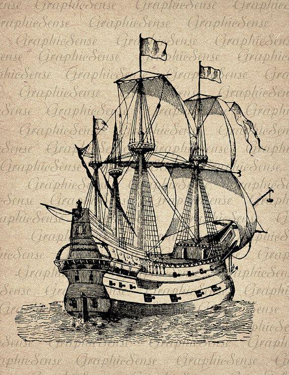 Caravel -Old Sailing Ship Engraving - Printable Graphics Digital Collage Sheet…