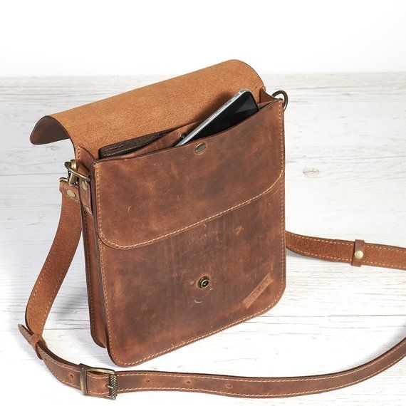 50d65bb2a6e96 Mens leather shoulder bag. Small leather crossbody bag for tablet ...
