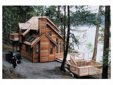 Small house - cabin with fireplace and sun roofs.: Cottages Houses, Dreams Cabins, Idea, Dreams Home, Home Plans, Lakes Houses, Small Houses, Houses Plans, House Plans