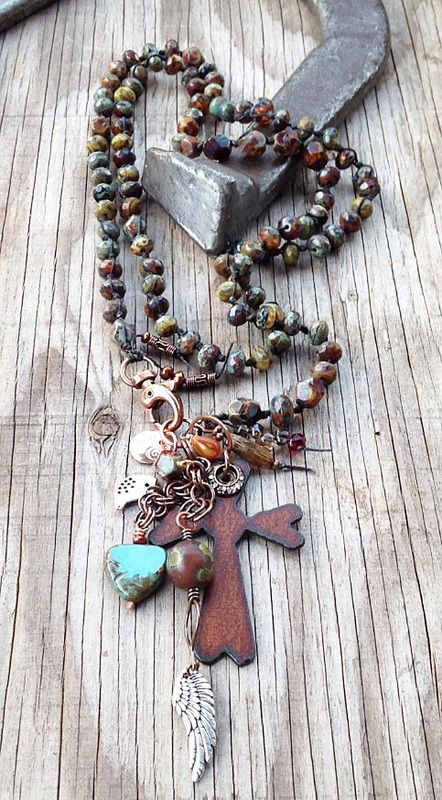 """""""Saddle""""--hand-knotted Czech glass in mottled earth colors, hand-forged copper chain, embellished rustic iron cross; copper findings; 39""""; $298"""