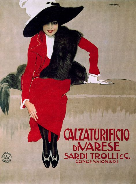 Vintage Italian Posters ~ #illustrator #Italian #posters ~ Leopoldo Metlicovitz - alzaturificio di Varese, 1913