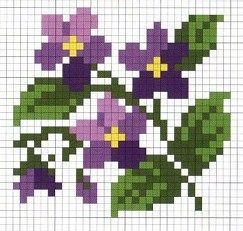 Wildflower violets cross stitch.