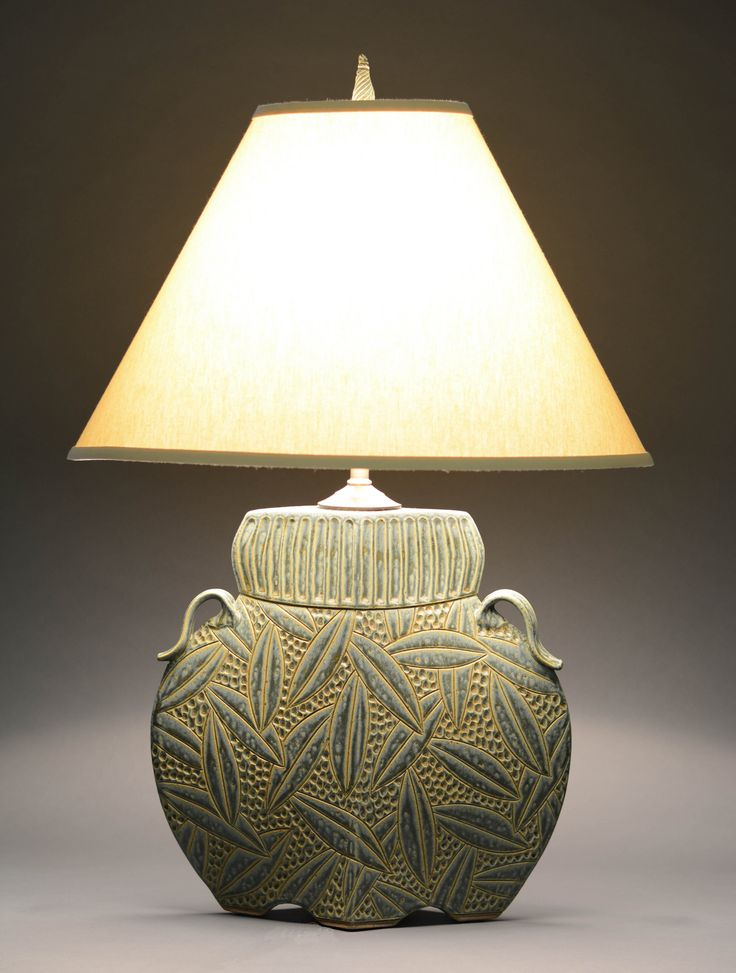 Arts and crafts lamp in sage by jim and shirl parmentier ceramic table lamp
