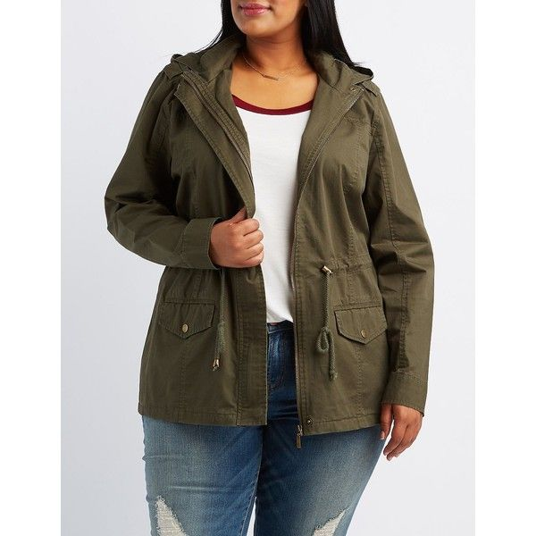 Charlotte Russe Hooded Anorak Jacket ($41) ❤ liked on Polyvore featuring plus size women's fashion, plus size clothing, plus size outerwear, plus size jackets, olive, olive utility jacket, olive green utility jacket, olive green jacket, olive green anorak jacket and zip jacket