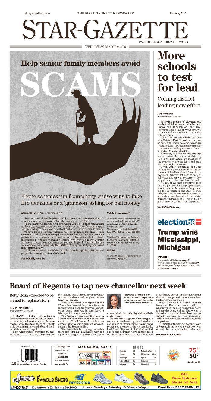 Star-Gazette 3/9/16 via Newseum