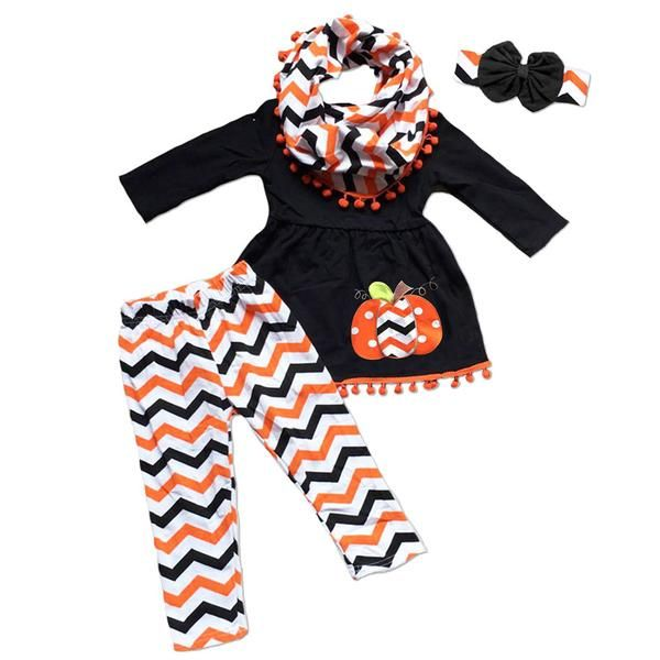 Black orange chevron pumpkin pom top and pants (includes top and pants) and don't forget to add the optional matching accessories/items: (Messy Bow Headband, St