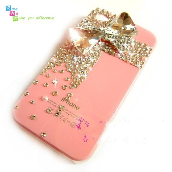gold bow and rhinestone iphone case