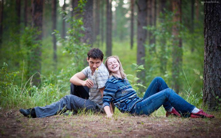 Las, Polana, Para, Miłość, Radość