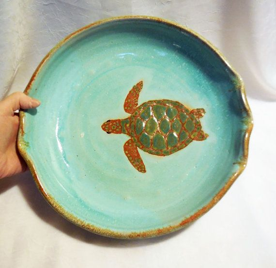 Sea Turtle Pottery Pie Plate by RikaBluePottery on Etsy & 8 best pottery pie plates images on Pinterest | Pie plate Pottery ...