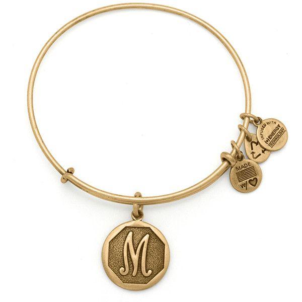 Initial M Charm Bangle ($28) ❤ liked on Polyvore featuring jewelry, bracelets, rafaelian gold finish, initial bangle, letter jewelry, bangle charm bracelet, alex and ani jewelry and alex and ani bangles