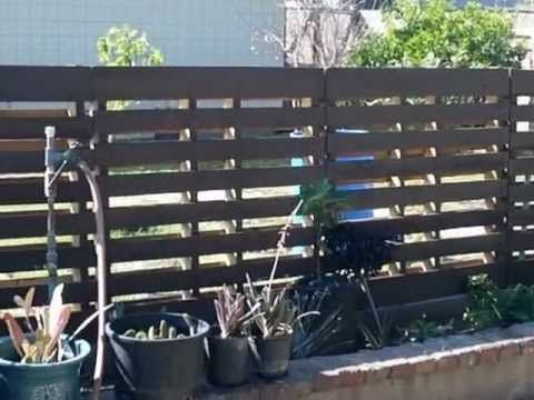 Projects From Pallets | Backyard Fence using wood pallets. Very easy to build yourself.