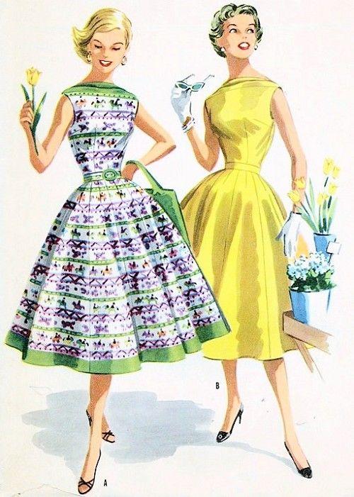 1950s Vintage McCalls 3489 Two Pc Rockabilly Dress Pattern Beautiful Full Skirt Bateau Boat Neckline Bodice Top Flattering Design Vintage Sewing Pattern