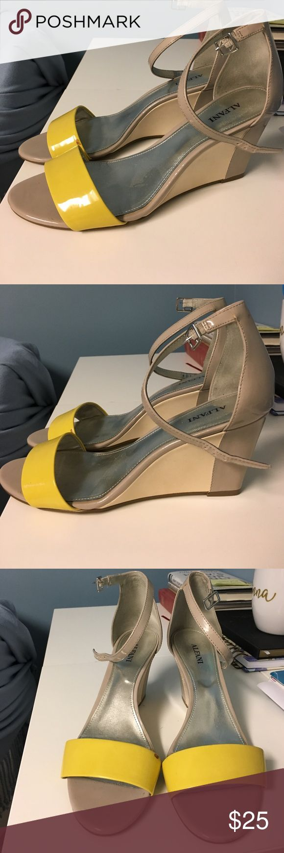 Wedge heels Wedge heels two toned heels with yellow strap. Worn a few times but still in great condition Alfani Shoes Wedges