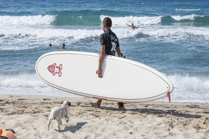 Surfing at Messakti beach, Ikaria