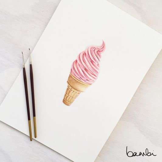 Think Pink with this By Bambi print for a little girl's bedroom. A delicate watercolour painting of a pink soft serve, perfect for a kids room.