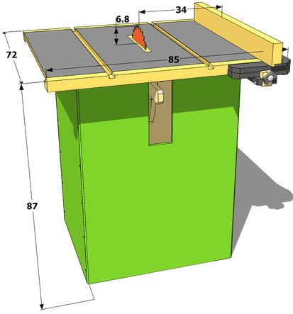 Homemade table saw specifications