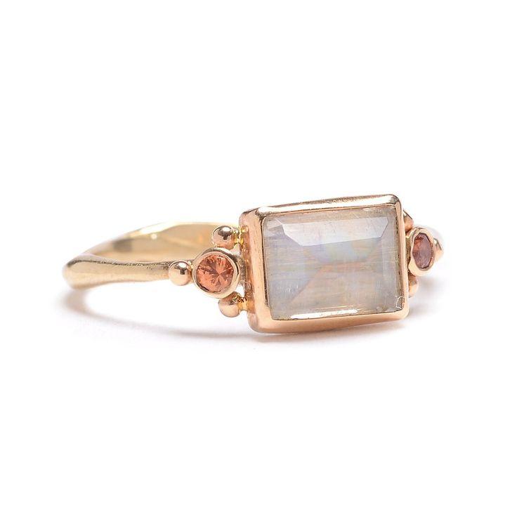 Moonstone & Sapphire Ring - Lori McLean