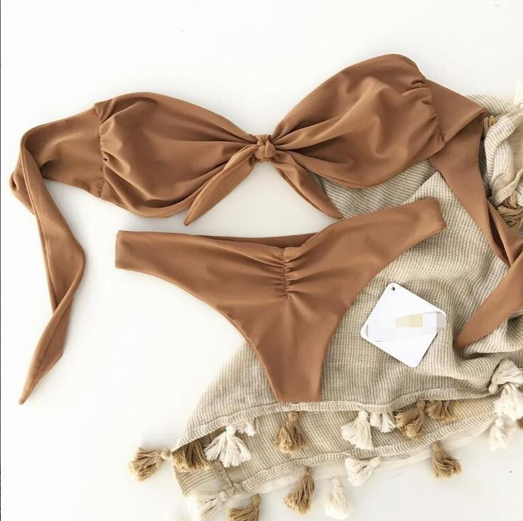 Bow Sexy Strapless Solid Color Beach Bikini Set Swimsuit Swimwear