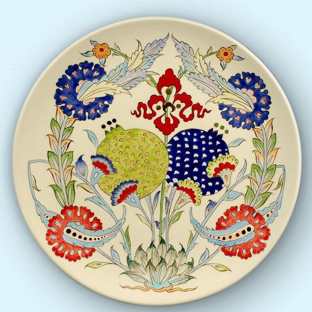 Ceramic Iznik plate 345x345 Ceramic Under glaze and Gold luster copy | Flickr - Photo Sharing!
