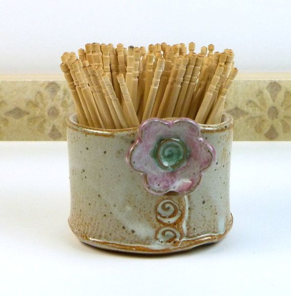 Stoneware+toothpick+holder+toothpick+cup+by+flyingpignc+on+