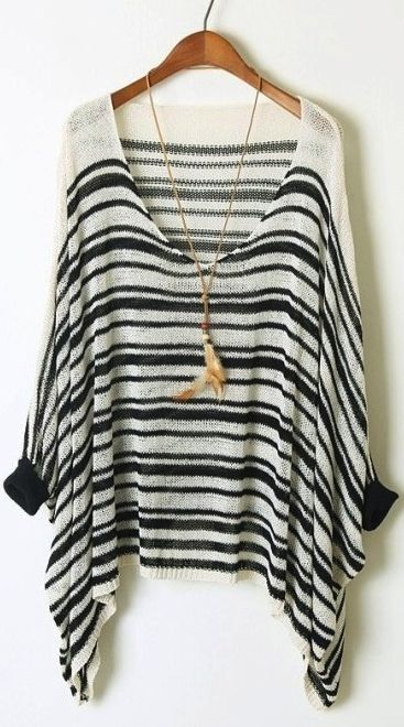 Bat sleeve striped sweater