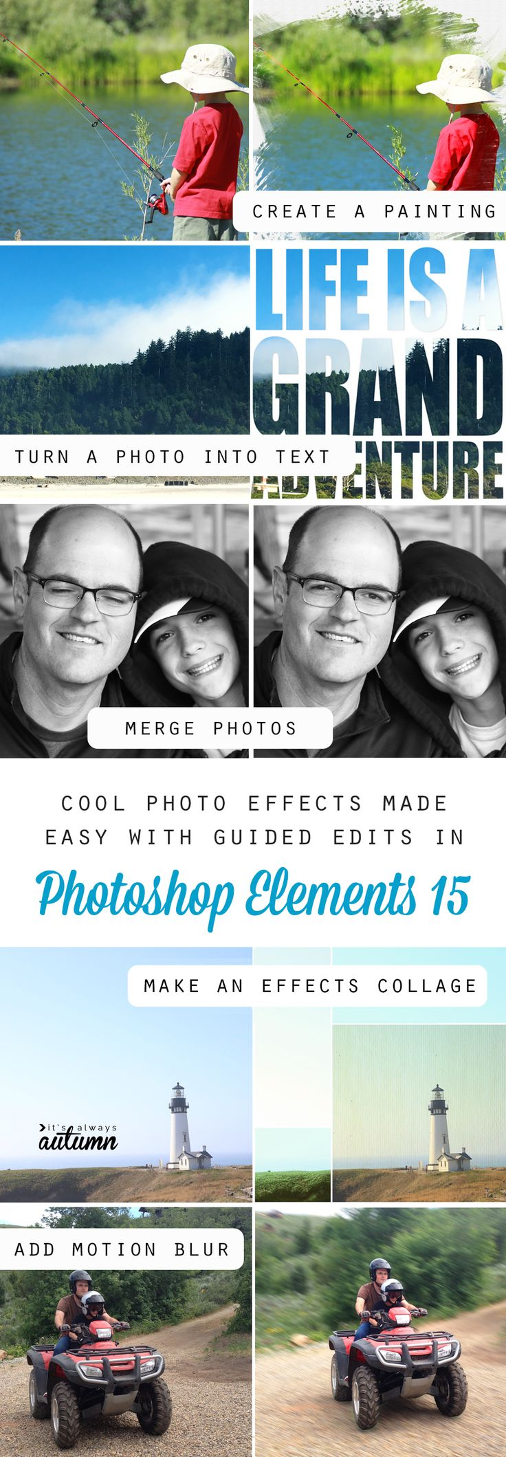 There are so many cool photo edits and effects you can do in Photoshop Elements 15 using easy guided edits! #ad
