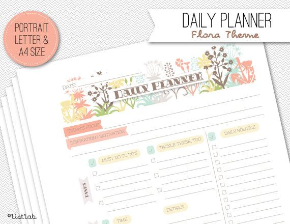 Printable DAILY PLANNER Flora Theme by ListLab on Etsy, $3.00